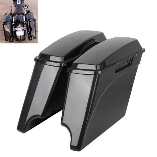 Ambienceo Unpainted Stretched Hard Saddle Bags Saddlebags with Lids for 1993-2013 Harley Touring Models FLT FLHT FLHTCU FLHRC Road King Road Glide Street Glide Electra Glide Ultra-Classic (4 inch)