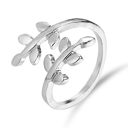 VWH Charms Olive Branch Ring for Womens Wedding Girl Knuckle Rings Adjustable Finger Ring (sliver)