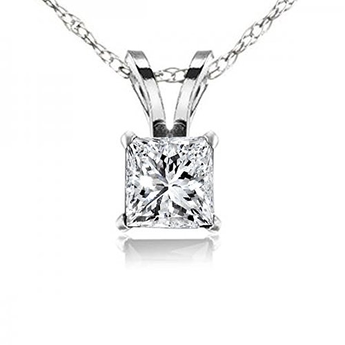 Dazzlingrock Collection 0.25 Carat (ctw) 10K Princess Cut White Diamond Ladies Solitaire Pendant 1/4 CT, White Gold