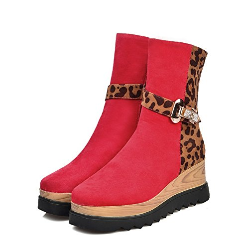 Women's PU Heels Frosted and with Boots Platform Kitten Red Allhqfashion 7aOxn67