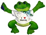 Plush Frog Toy in t-shirt with I Heart Marcin (first name, last name, nickname)