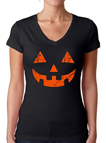 Awkward Styles Women's Jack O' Halloween Pumpkin V-neck T shirts for Women Halloween Horror Funny Tee Black S