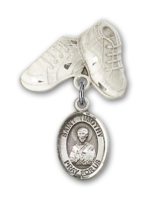 Sterling Silver Baby Badge with St. Timothy Charm and Baby Boots Pin