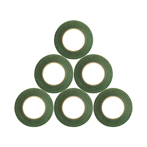 Kloud City Pack of 6 Floral Tape Green Self-Sealing 1/2 Wide 30 Yard Florist Stem Wrap for Bouquet Artificial Flower Floral Arranging Craft Home Decor