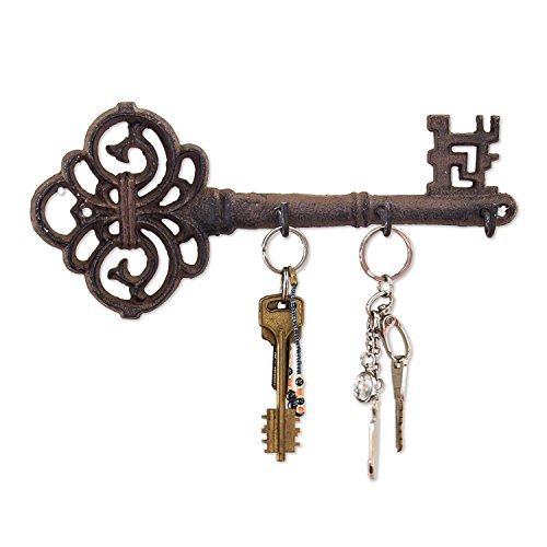 (Decorative Wall Mounted Key Holder | Vintage Key with 3 Hooks | Wall Mounted | Rustic Cast Iron | 10.8 x 4.7- with Screws and Anchors by Comfify)