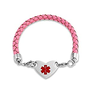Pink Braided Leather Steel Heart Medical Alert ID Bracelet