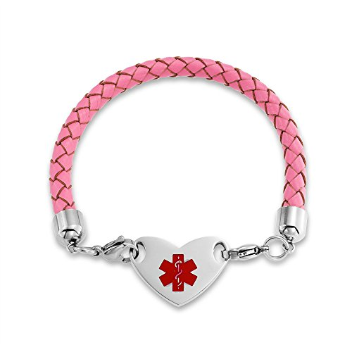 Bling Jewelry Heart Shape Pink Leather Medical Identification Doctors Engravable Medical Alert ID Bracelet for Women Stainless