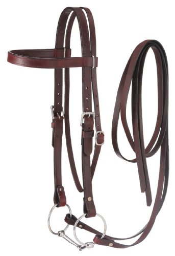 Tough 1 Western Leather Browband Draft Bridle, Dark Oil