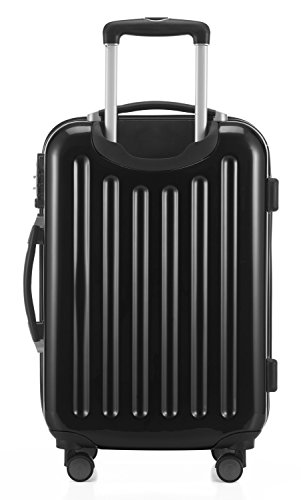 HAUPTSTADTKOFFER® 42 Liter Handgepäck (55 x 35 x 19 cm) · Hochglanz · TSA · SCHWARZ + DESIGN KOFFERANHÄNGER