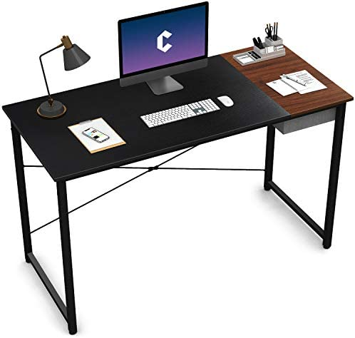"Cubiker Computer Desk 55"" Home Office Writing Study Laptop Table, Modern Simple Style Desk with Drawer, Black Espresso"