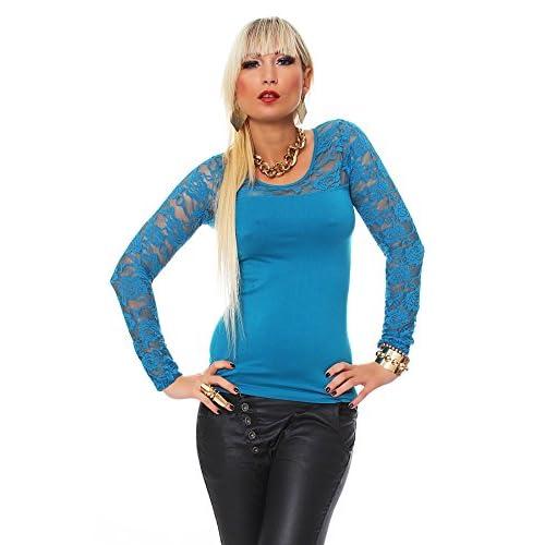 klassischer Stil Luxusmode Release-Info zu Fashion4Young 10304 Damen Langarm Damen T-Shirt mit Spitze ...
