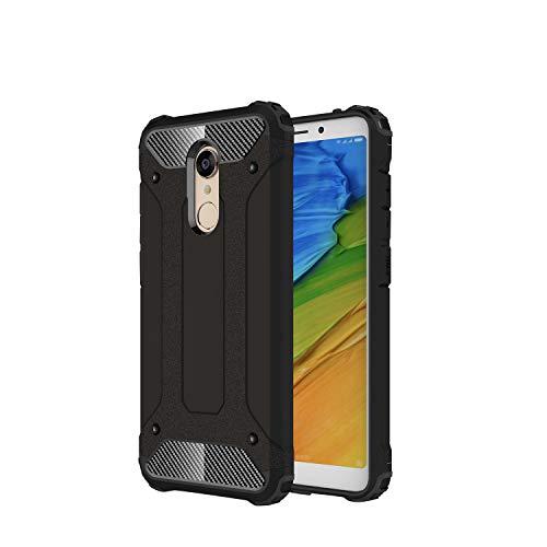 RAMCASE Funda Xiaomi Redmi 5 Plus Fibra de Carbono Doble Capa Case Uso Rudo Protección contra Caidas y Ralladuras (Negro)