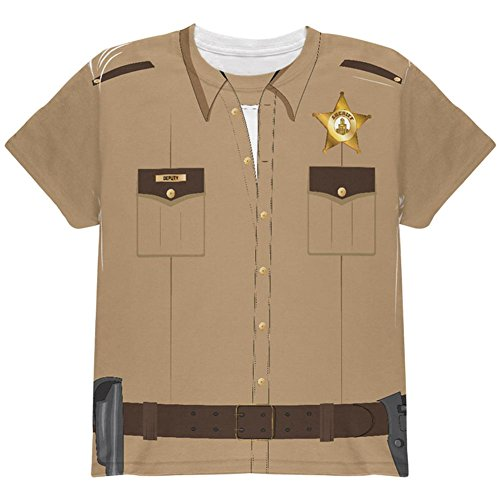 Halloween Sheriff Costume All Over Youth T Shirt Multi - Halloween Costume Sheriff