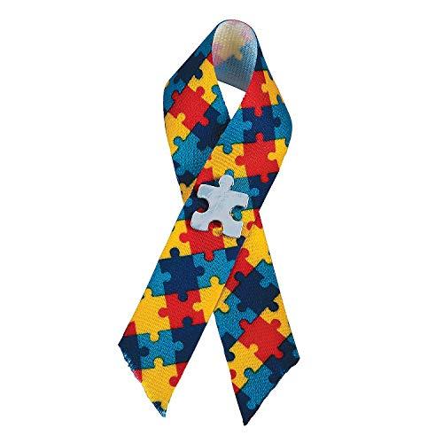 Autism Ribbon Awareness Pin - Fun Express - Autism Awareness Puzzle Ribbon Pin - Jewelry - Pins - Novelty Pins - 12 Pieces