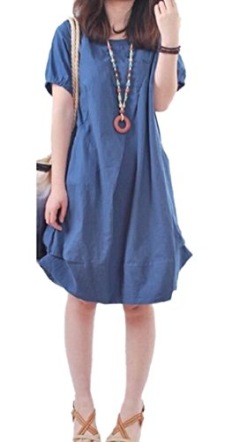 Mid Loose Sleeve Solid Dresses Pockets Casual Navy Neck Blue Long Jaycargogo V Women's 8CBqxzw