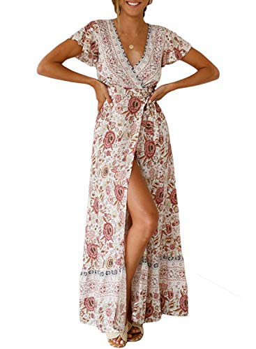 (Asvivid Womens Summer Boho Floral Printed V-Neck Short Sleeve Wrap Split Casual Party Maxi Long Dresses with Belt S White)