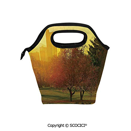 (Reusable Insulated Lunch Bags with Pocket Sunset over the City Park Colorado Skyline Autumn Theme Scenic Picture for Adults Kids Boys)
