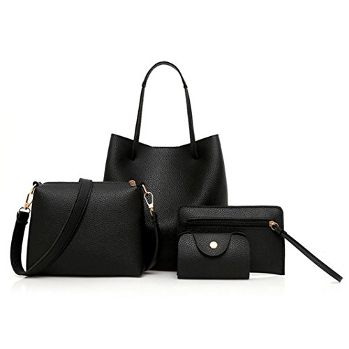 Wedding Leather Party 4Pcs Bag Fashion Events Pattern Crossbody Women for BANAA Messenger Prom and Bag Handbag Bags Ball Package Evening Bucket Black Card SCfIwnxxq