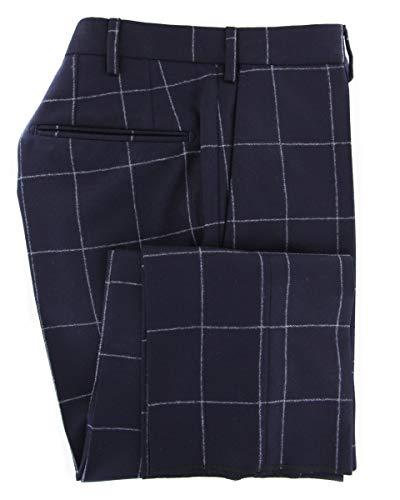 Incotex Dress Pants - Incotex Dark Navy Blue Window Pane Wool Pants - Slim - 34/50