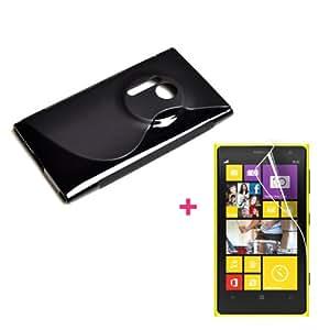 2en1 negra TPU gel Funda CARCASA X1 film X 1 para Nokia Lumia 1020