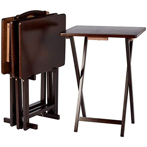 AmazonBasics – Juego de 4 mesas supletorias para comer frente a la television de estilo clasico con soporte, marron Espresso