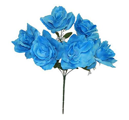6 Open Roses Malibu Blue Colors Centerpieces Bride Bouquets Silk Wedding Flowers Tkaffor from Unknown