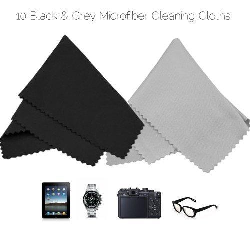 Mikrofaser-Reinigungstücher - 10 bunte Tücher und 2 weiße ECO-FUSED Tücher - Ideal für die Reinigung von Gläsern, Brille, Kameraobjektive, iPad, Tablets, Handys, iPhone, Android Handys, LCD-Bildschirmen und anderen empfindlichen Oberflächen (Schwarz / Grau)
