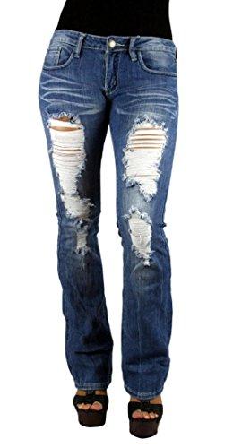 MACHINE JEANS Destroyed True Blue Light Denim Boot Cut Jeans Size 11