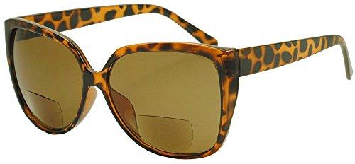 Sunglass Stop - Big Huge Oversized Rx Reading Bifocal Sunglasses Strength +1.25 thru +3.00 (Demi (Tortoise), - Eyeglass Shell Tortoise Round Large Frames