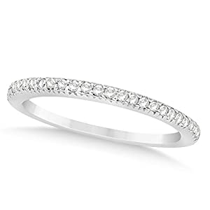 (0.21ct) Platinum Diamond Accented Prong Set Wedding Band