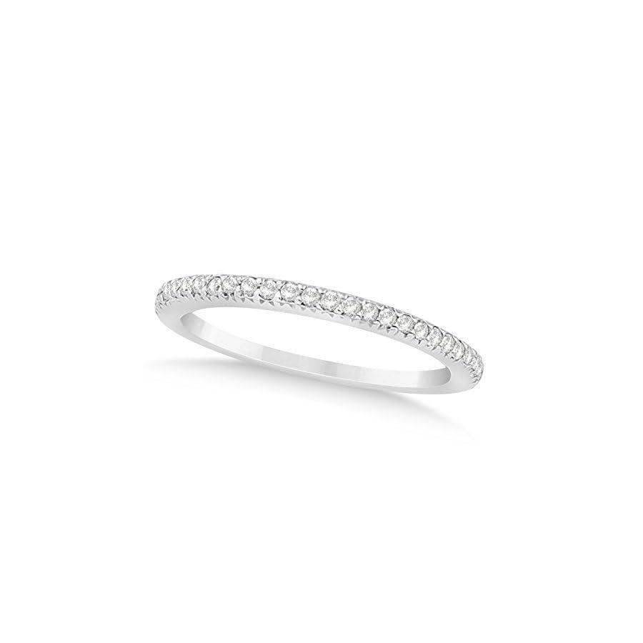 (0.21ct) Platinum Diamond Accented Prong Set Wedding Band