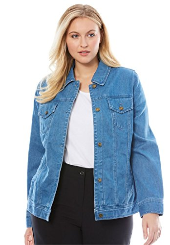 Button Cuff Denim Coat (Jessica London Women's Plus Size Classic Cotton Denim Jacket Medium)