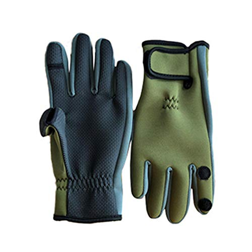 AONIJIE Fishing Gloves with 3 Cut Fingers Convertible, Neoprene Cold Weather Waterproof Glove, Anti-skidding Palm Design for Fly Fishing, Shooting, Hunting, Cycling