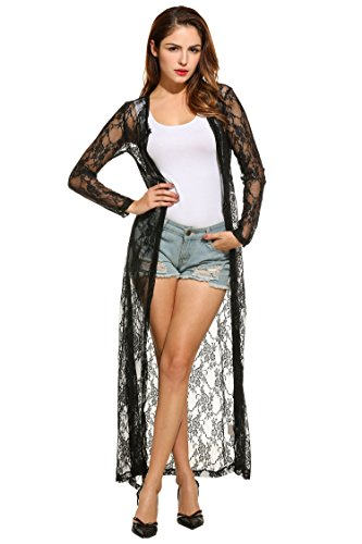 HOTOUCH Women's Long Sleeve Lace Crochet Floral Maxi Cardigan Open Front Beach Dress Cover Up Beachwear Swimsuit Bikini Black XXL