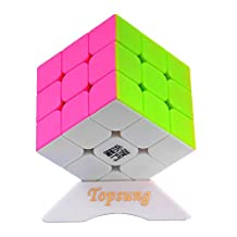 Topsung YJ Yulong Stickerless Speed Cube 3x3 Smooth Magic Cube Puzzle Colorful with Tripod Base by Topsung