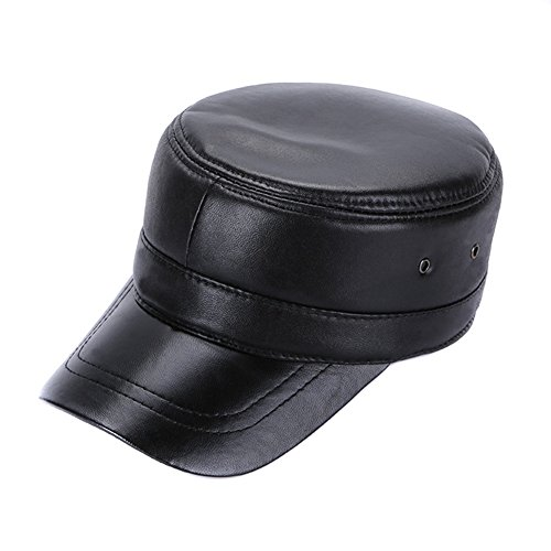Sandy Ting Vintage Solid Lambskin Leather Military Cadet Cap Army Hat