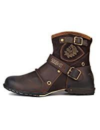 Leather Chukka Boots For Men Fashion Zipper-up Boots Casual Shoes By OTTO ZONE OZ-5008-1