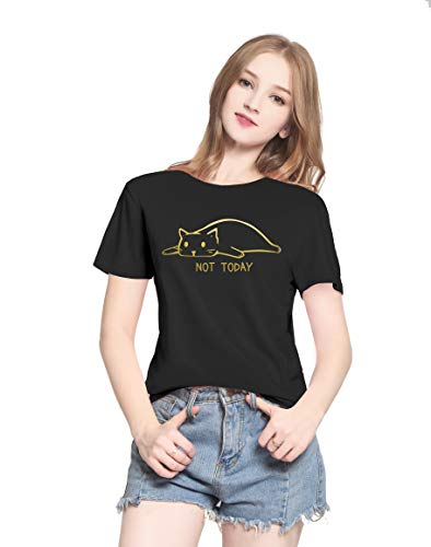 PINJIA Womens Cute Letter Printed Graphic Funny TCAT FACE Shirts Top Tees(MX15)(S,Gold Black NOT Today) Black Shirt Gold Letters