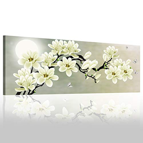 Natural art White Magnolia & Butterfly Under The Moon Modern Giclee Canvas Prints Paintings to Photo Printed Artwork for Wall Decor 20x48in