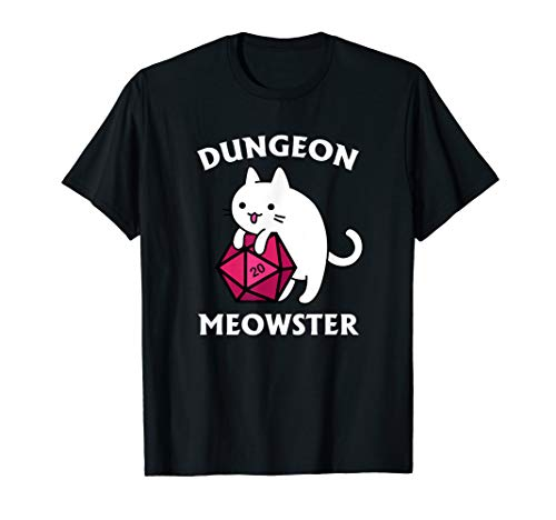 Dungeon Meowster Funny Nerdy Gamer Cat D20 RPG T-Shirt