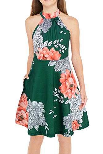 Halter Dress Clothes - Gorlya Girl's Halter Neck Cold Shoulder Sleeveless Summer Casual Sundress A-line Dress with Pockets for 4-12 Years (GOR1013, 9-10Y, Green Print)