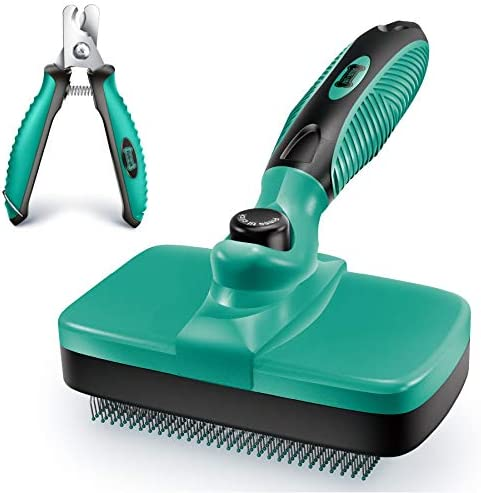 Ruff 'N Ruffus Self-Cleaning Slicker Brush + FREE Pet Nail Clippers   UPGRADED PAIN-FREE BRISTLES   Cat Dog Brush Grooming Gently Reduces Shedding & Tangling For All Hair Type