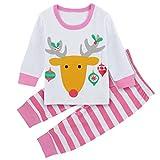 A&J Design Baby Little Girl's Christmas Elk Deer 2 Piece Set Pajamas (4T, Pink)