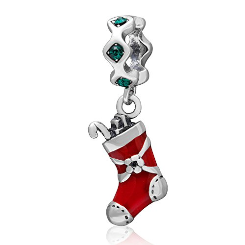 (Soulbeads Merry Christmas Tree,Reindeer, Bell,Snowman Charms 925 Sterling Silver Xmas Gifts Bead Fit Bracelet (Green) )