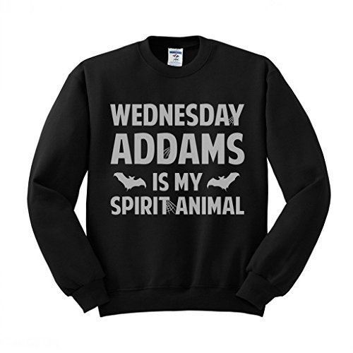 Wednesday Addams is My Spirit Animal (White) Sweatshirt Unisex Medium Black