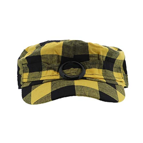 Plaid Hat with Buckle Newsboy Cap for Women - Yellow ()