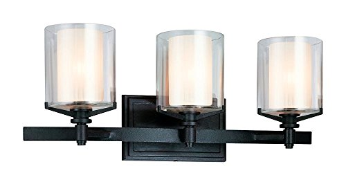 Troy Lighting Arcadia 3-Light Vanity - French Iron Finish with Clear Outer and Ribbed Provence Inner Glass ()