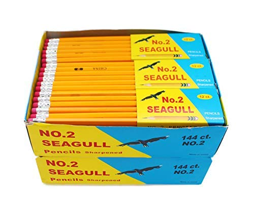 Pencils Pre-sharpened No. 2 144/box 2 Boxes of 144 New Improved Eraser by Seagull (Image #1)