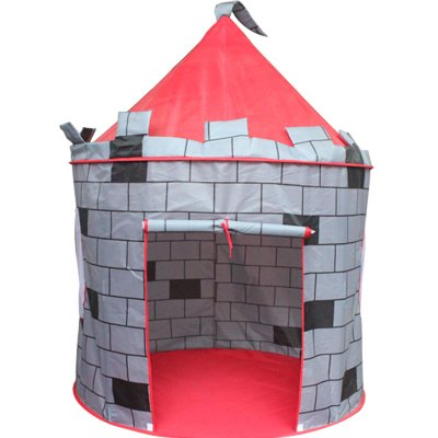 FinerKids Knight's Castle Pop-up Play Tent, Large Indoor-Outdoor Playhouse Castle. Perfect for Boys-Girls 2, 3, 4 up. HOURS OF FUN. Easy-up House, Handy Carry Case, Stakes. PROMISED to Keep 'em Busy!!