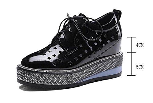 Cuero Para Informales Silver De Zapatos De Zapatos Mujer Cordones Zapatos Plataforma Con ATpntUBqx